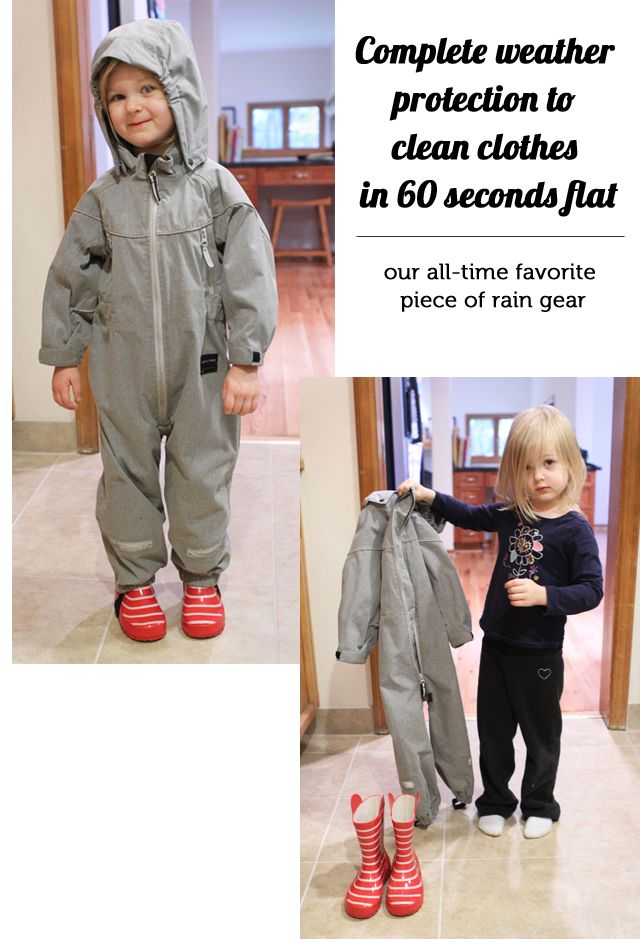Best purchase ever - this rain suit lets my kids play outside everyday in the rain and it takes less then a minute for them to go from dirty...