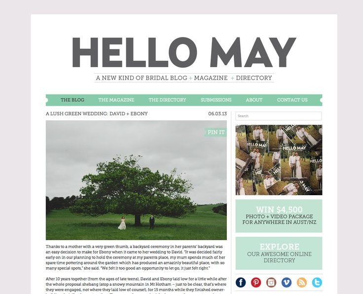 Hello May - love this blog layout, branding & colours.