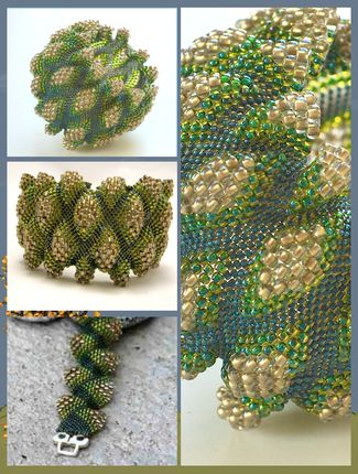 """""""Crocodile Teeth"""" picture by D.Fejtková - Beads TOHO 15 ( A in the diagram), TOHO No. 11 (B) TOHO 8 (C ) . The actual pattern is here: http://www.dari.cz/file.php?nid=5404&oid=3758367 #Seed #Bead #Tutorials"""