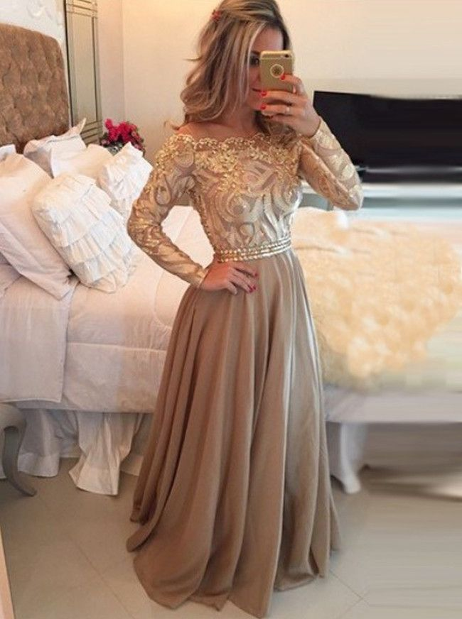 Hot Selling A-Line Cowl Floor Length Gold Prom Dress,Long Sleeves Evening Dresses,111043015