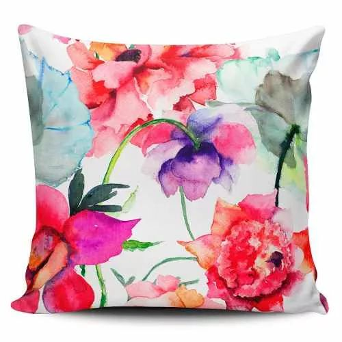 Cojin Decorativo Tayrona Store Flores Rojas Pintura - $ 43.900