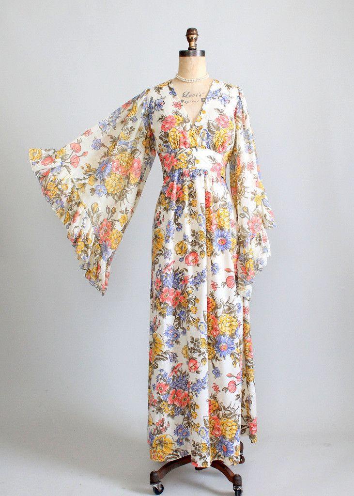 Vintage 1960s Bell Sleeve Floral Festival Maxi Dress ...
