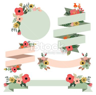Vintage Hand Drawn Flowers Banners Set Royalty Free Stock Vector Art Illustration