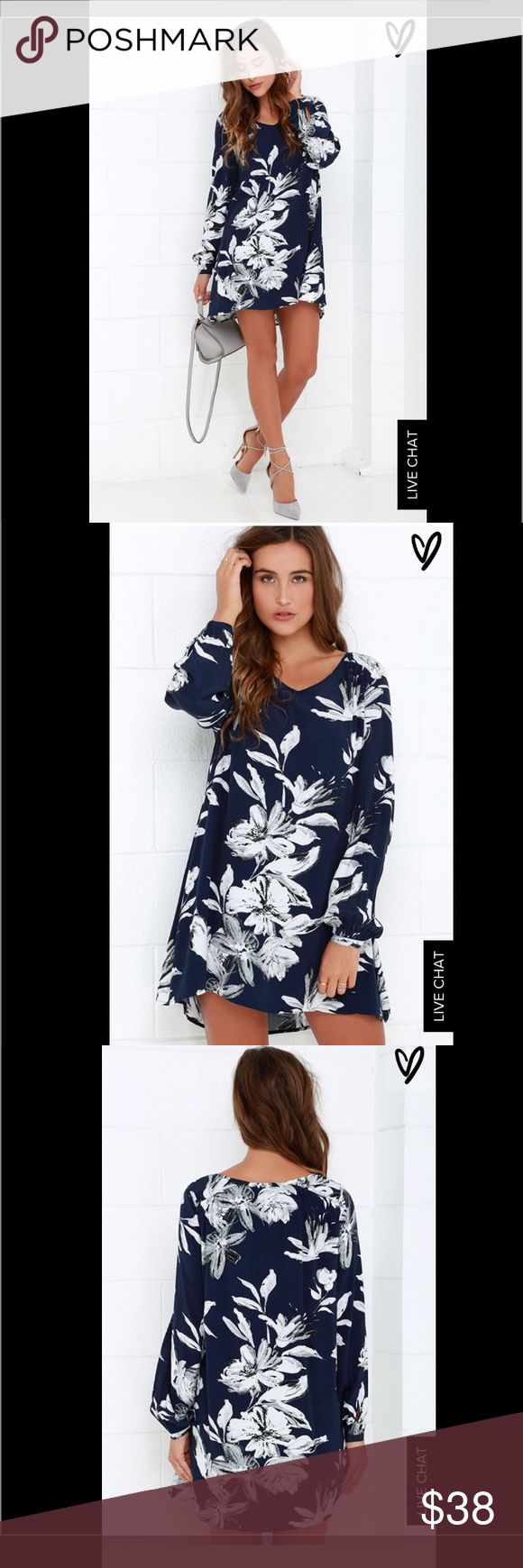 Lulus Sunday mood floral dress navy/white Beautiful lulus floral Sunday mood floral print shift dress. Excellent condition only worn once and dry cleaned after. Size large and runs big. Sold out online!!! Not back in stock yet on lulus website. Originally $62 Lulu's Dresses Long Sleeve