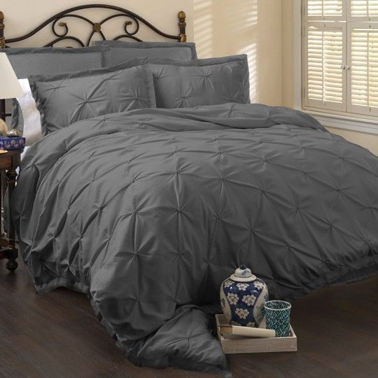Lux Grey 6 Piece Comforter Set  annas linens.  black & white room with a hint of teal and gray