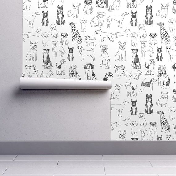 Dogs Wallpaper - Black and White Illustration Pet by Andrea Lauren - Spoonflower Custom Printed Removable Self Adhesive Wallpaper Roll