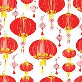 東洋風の中華ランタンシームレスなベクターパターン