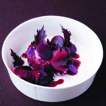 Beef tartar with coffee oil, beetroot and shiso   FOUR Magazine #grandits
