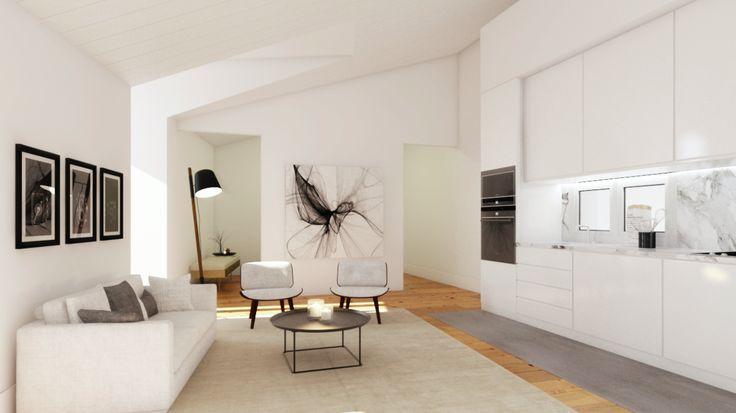 Fragmentos de Arquitectura | Rua do Carmo | Arquitetura | Architecture | Atelier | Design | Indoor | Details | White | Minimal | Living Room | Sofas | Pillows | Minimalism | Side Table | Floor Lamp | Kitchen