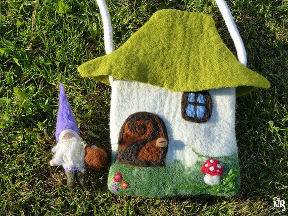 WoolyMossRoots button in reclaimed sassafras on doll house felted wool bag by tetedelinoth