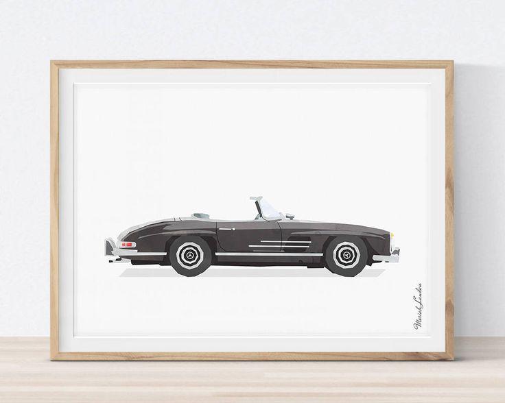 Mercedes Benz 300SL Print, Classic Car Art, Vehicle Print, Car Printable Art, Transportation Wall Decor, Boys Room Decor, Man Office Decor by MORILAND on Etsy