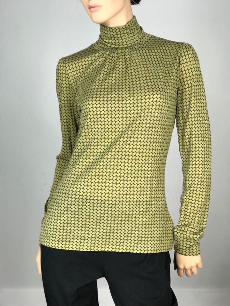 United Colors of Benetton Womens Shirt Medium Turtleneck Green Multi-Color  | eBay