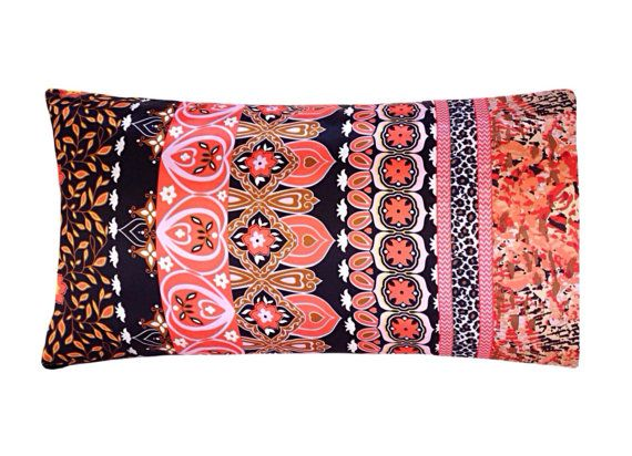 Moroccan Bedding, Boho Bedding, Bohemian Pillow Case, Satin Pillowcase, Moroccan Floral Pillow Case, Coral Black Brown Gold Bronze Orange