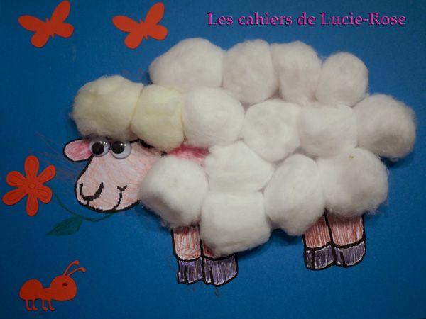 Mouton en boules de coton - les cahiers de Lucie-Rose #6