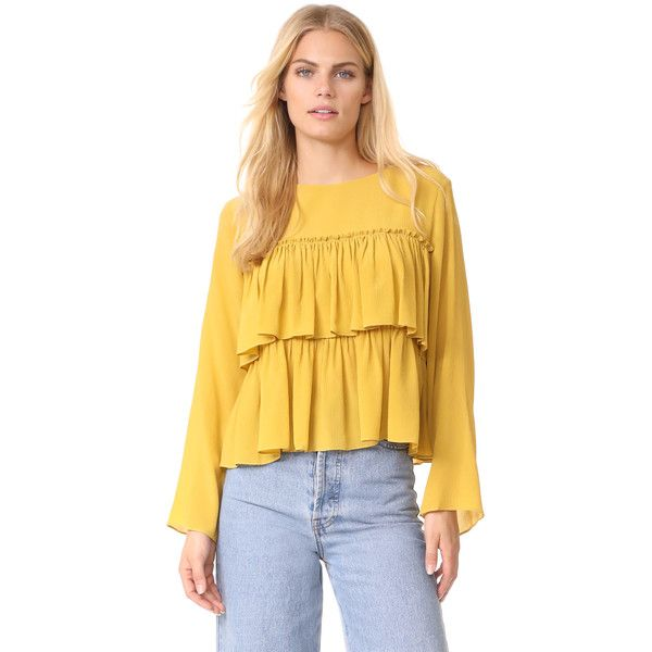 Whit Tier Top ($378) ❤ liked on Polyvore featuring tops, embellished top, embellished long sleeve top, yellow long sleeve top, yellow top and tiered top