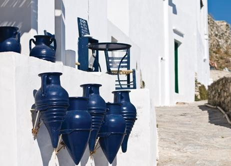 A collection of signature blue urns on the island of Sífnos
