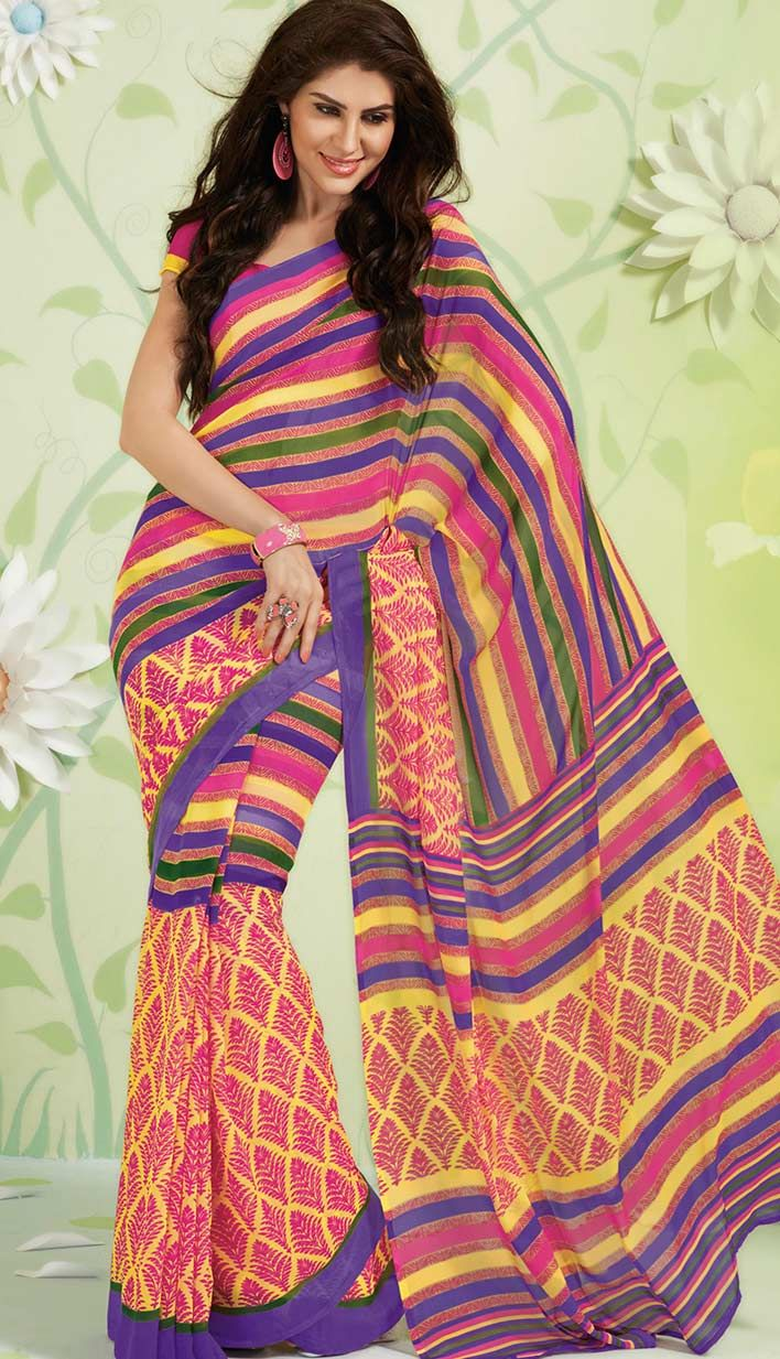 Find beautiful collection of #PrintedSarees at best rates like block printing sarees & cotton printed saree at Efello.co Shopping get discounts on Bollywood Collection. Unstitch Blouse, Readymade size is size also available.. http://www.efello.co/Saree_Bollywood-Latest-Yellow-Georgette-Printed-Saree,-Sari_37606
