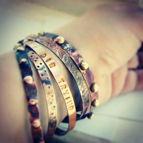 Personalised Bracelets – Personalized bangles. Stamped bracelet. engraved – a unique product by NAAKIT on DaWanda