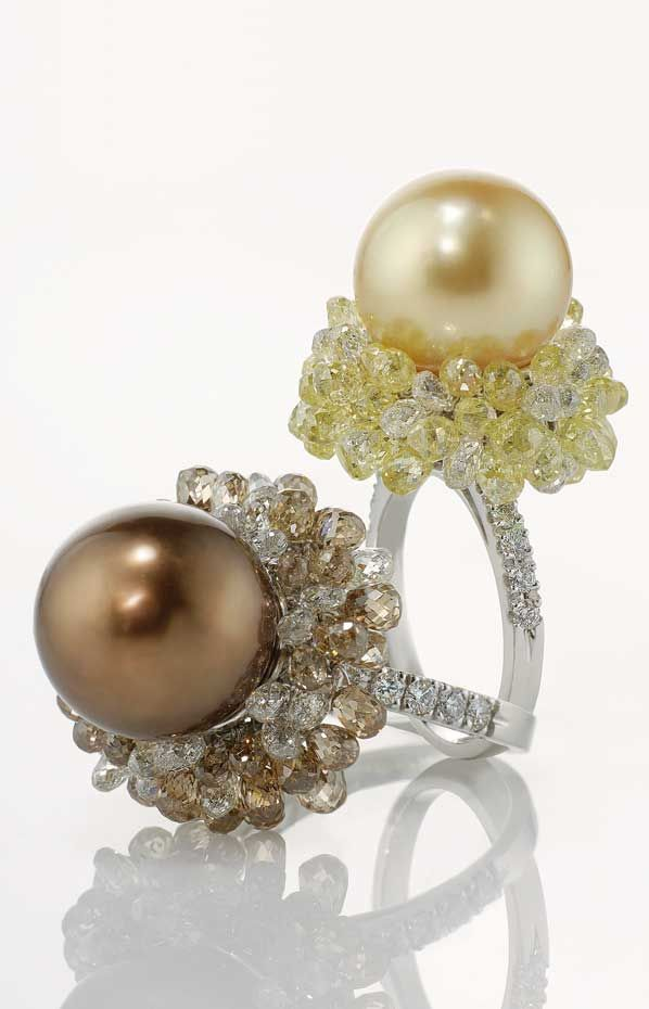 Pearl rings from Di.Go's Juno collection, pearls and multicolor cut diamond drop briolettes