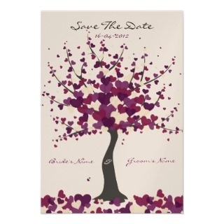 autumn+wedding+invitations+with+leaves+and+purple | Fall Wedding Invitations » Tree Of Hearts Purple Save The Date Card ...