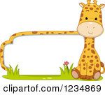 Clipart Of A Cute Giraffe By A Label Or Sign Royalty Free Vector Illustration