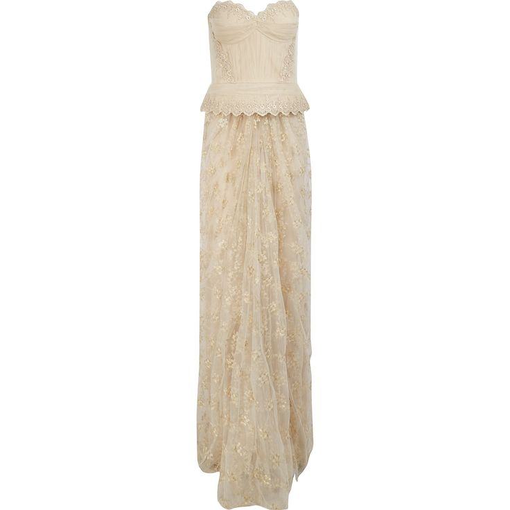 Vincent mignon cream emroidered evening gown tk maxx for Tk maxx dresses for weddings