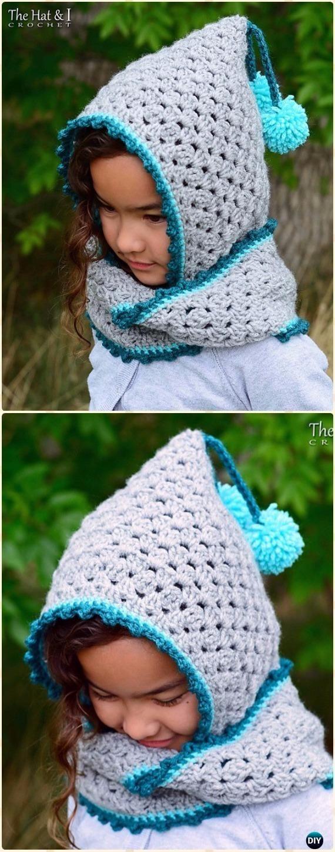 Crochet Harlequin Hoodie Cowl HatFree Pattern - Crochet Hoodie Scarf Free Patterns