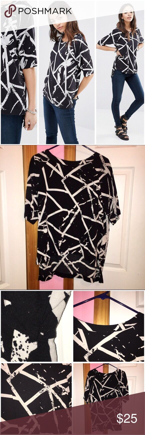 ASOS Noisy May Sandra Top Brand is Noisy May from ASOS. Worn three times. Has slight sign of wear. Does have a mark as seen in the one photo. All over printed design. Crew neckline. 100% viscose. Runs true to size. Stock photos from ASOS. ❌NO TRADES❌ ASOS Tops