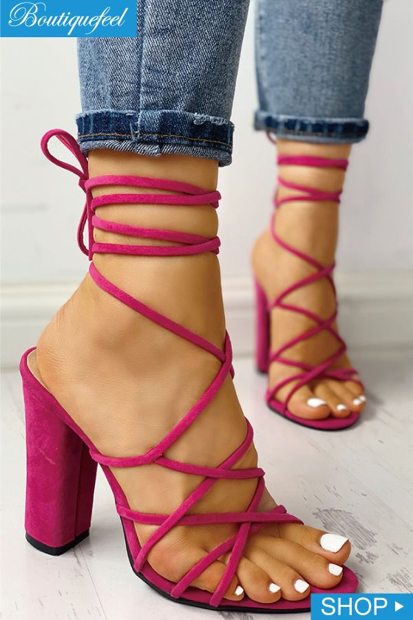 d1271178a38 Sexy Lace-Up Open Toe Chunky Pump