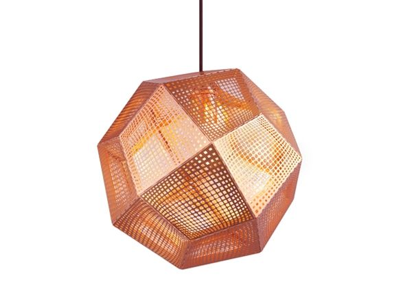 ETCH SHADE COPPER BY TOM DIXON  A digitally manufactured pendant light etched from metal. Made by employing an industrial process used to produce electronic parts, the method allows for detailed patterns to be cut directly onto the metal, creating a mass of intricate shadows when lit. Also available in brass, stainless steel and as a candle holder.
