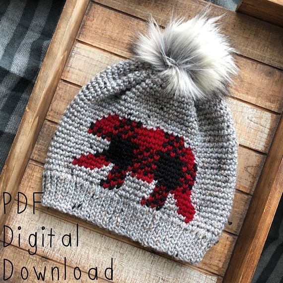 Oso Plaid Beanie PDF DIGITAL DOWNLOAD Crochet Pattern, Plaid bear crochet beanie pattern, Men's, Wom #CrochetBeanie