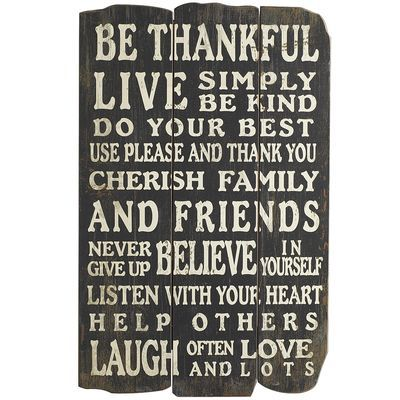 great words to live by Thankful Panel