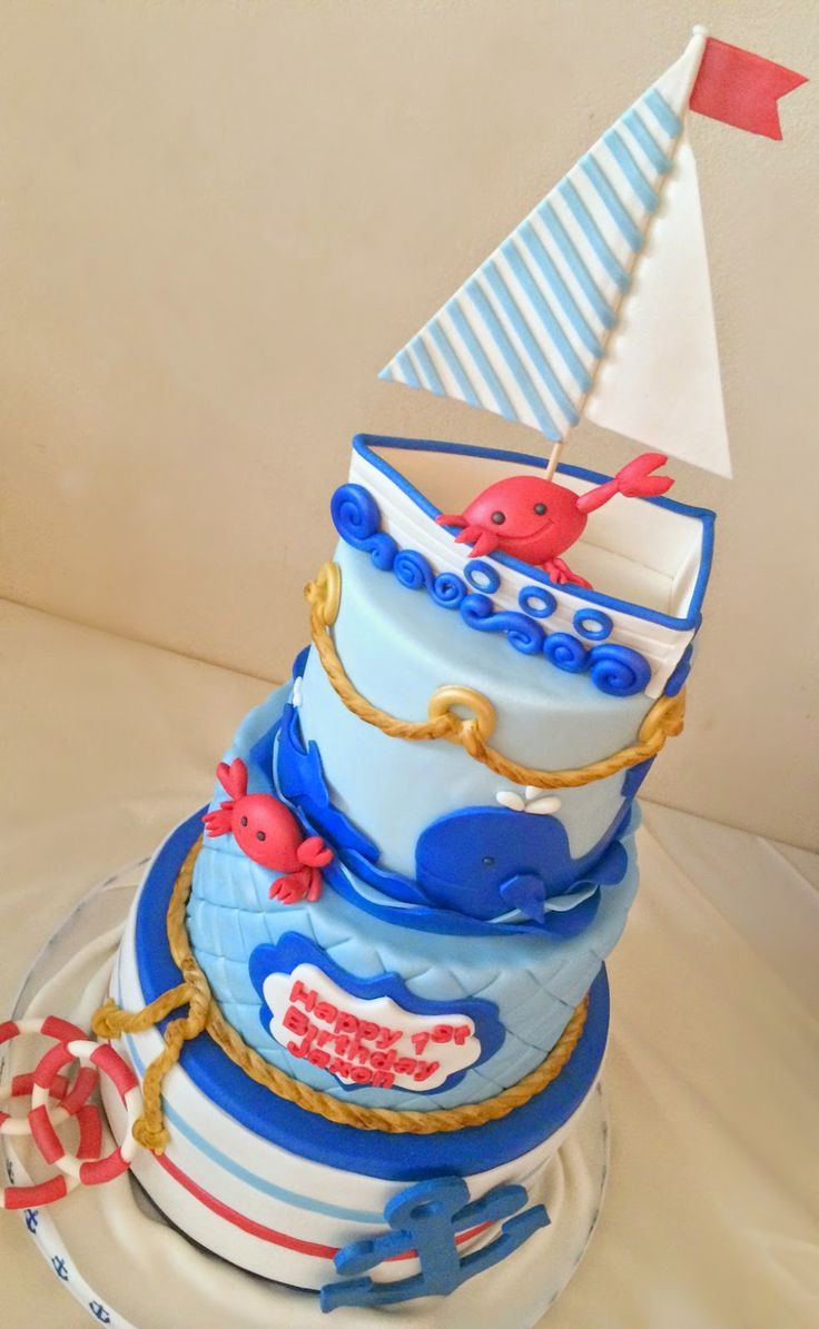 Pink Little Cake: Nautical/Mini Crab theme birthday cake