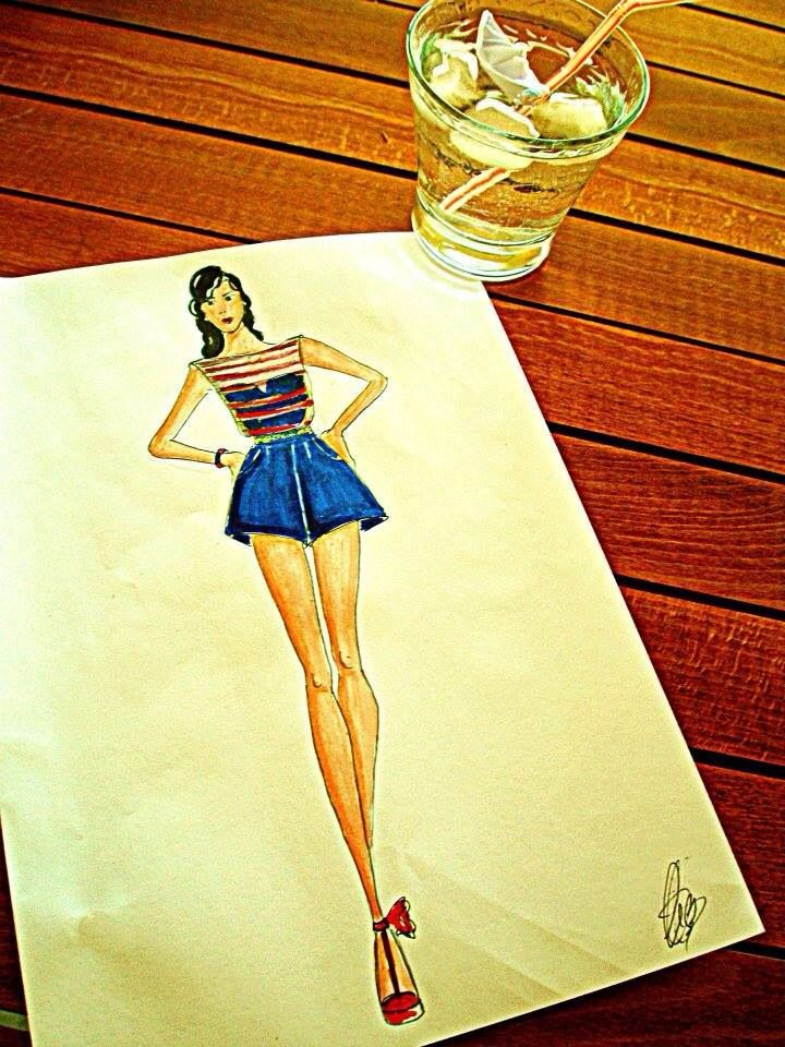 Pin up style - sketch -navy - fashion