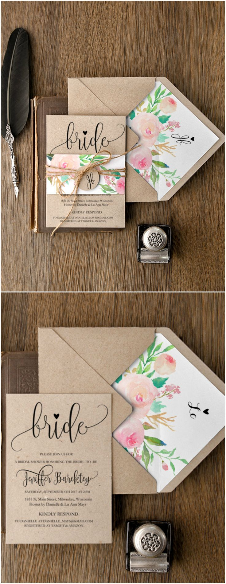 Floral Bridal Shower Invitations #weddingideas #bridetobe #bridalshower #floral…