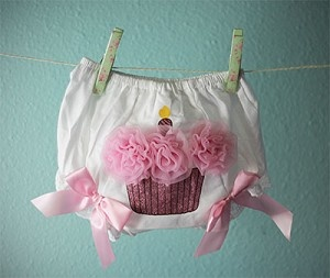 Glitter Cupcake Baby Bloomers Diaper Cover | gingasgalleria - Childrens on ArtFire
