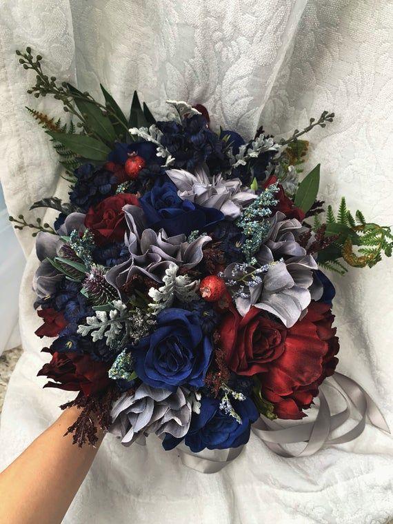 Wedding Bouquet Burgundy Navy Blue Red Peony Steel Silver Etsy