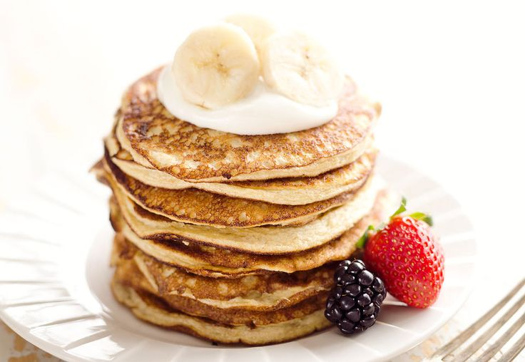Light & Fluffy Banana Protein Pancakes are a healthy breakfast with 5 ingredients, egg whites, protein powder & ripe bananas for a low-fat and low-carb meal