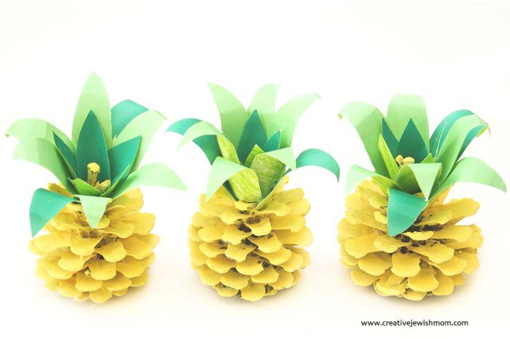 Pinecone Pineapples Summer Kids Craft