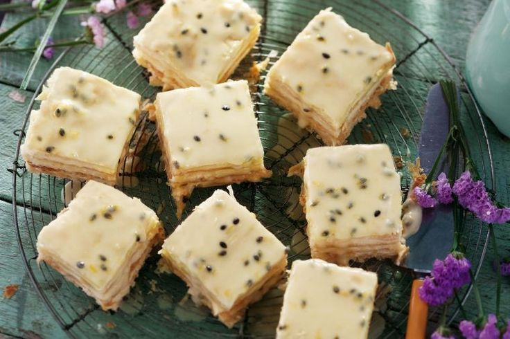 This creamy vanilla slice with passionfruit topping is our take on the nostalgic dessert.