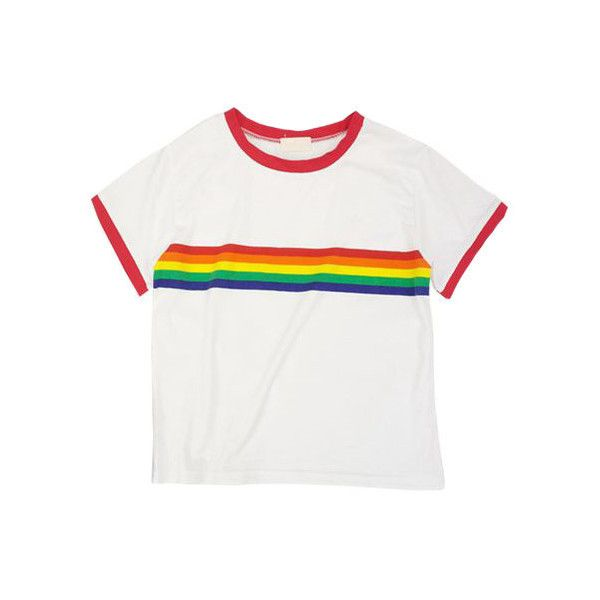 Rainbow Cropped T-Shirt ($12) ❤ liked on Polyvore featuring tops, t-shirts, rainbow t shirt, white t shirt, cut-out crop tops, white tees and white tops