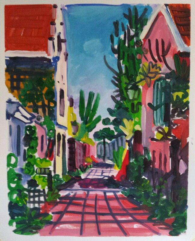 Simon oom straat Veere 65x50cm acryl op papier