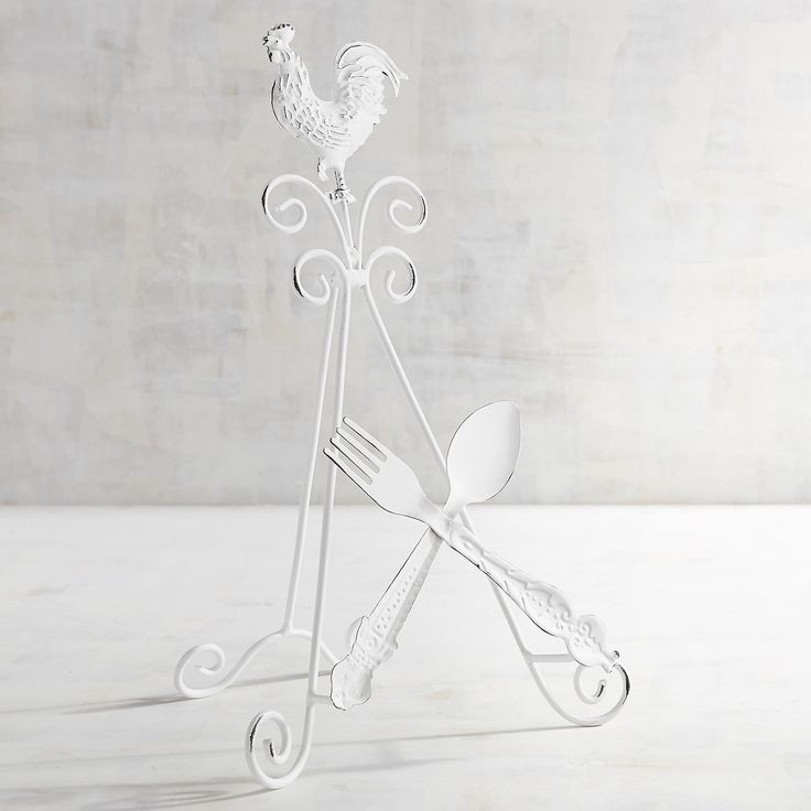Rooster Plate Stand White