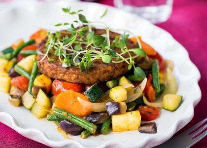 En liten lätt portion som kan göras mättande med 2 biffar/portion. Då hamnar energivärde och fördelning på 360 kcal, P: 30, F: 32, K: 38