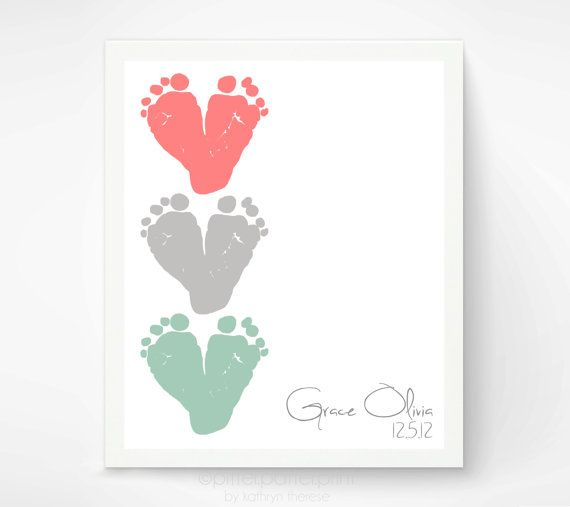 Coral and Mint Nursery Wall Art - Baby Footprint Hearts - Personalized Baby Girl Nursery Decor - Baby Wall Art Print Pink, Charcoal Grey on Etsy, $30.00