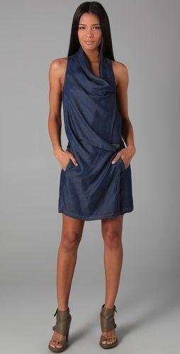 Alexander Wang does denim. Love the asymmetrical draped neckline and indigo color.