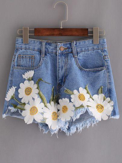 Shorts bordado flor aplique denim -azul