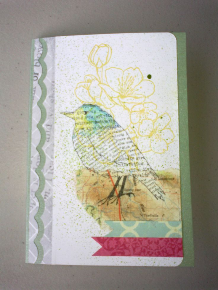 Inspirational flight bird and cherry blossom stamps.