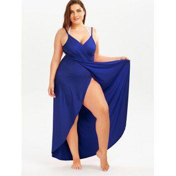 Plus Size Beach Wrap Cover Up Dress - ROYAL XL