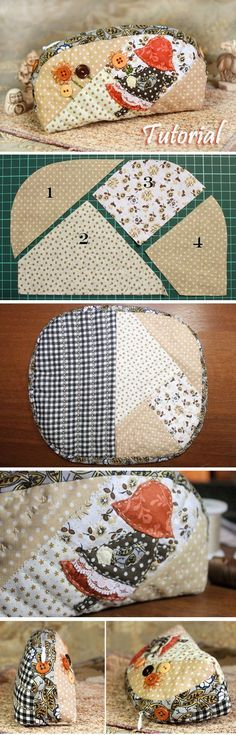 "How to sew a cosmetics bag in the style of Japanese patchwork ""Sunbonnet Sue"". DIY Photo Tutorial and Pattern. http://www.handmadiya.com/2016/06/cosmetic-bag-japanese-patchwork.html"
